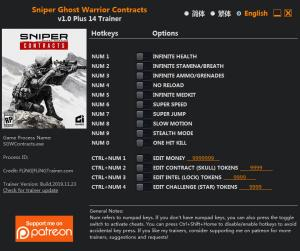 Sniper Ghost Warrior Contracts Trainer for PC game version  v1.0