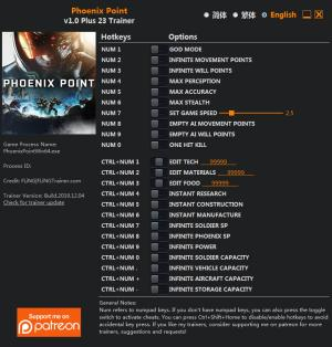 Phoenix Point Trainer for PC game version v1.0