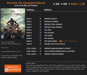 Ancestors: The Humankind Odyssey Trainer for PC game version v1.3