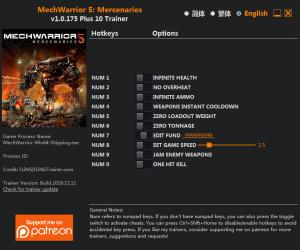 MechWarrior 5: Mercenaries Trainer for PC game version v1.0.175
