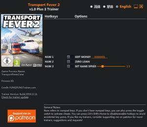 Transport Fever 2 Trainer for PC game version  v1.0