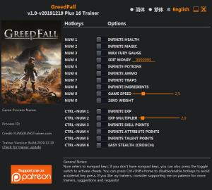 GreedFall Trainer for PC game version v19.12.2019