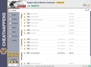 Sniper Ghost Warrior Contracts Trainer for PC game version v1.05