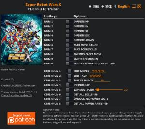 SUPER ROBOT WARS X Trainer +18 v1.0 {FLiNG}