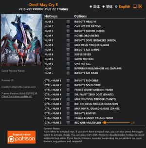 Devil May Cry 5 Trainer for PC game version v2019.06.07