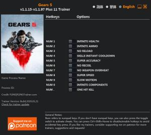 Gears 5 Trainer for PC game version v1.1.97 Update 2020.01.21