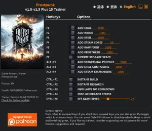 Frostpunk Trainer for PC game version v1.5