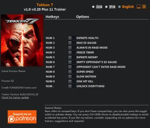 Tekken 7 Trainer for PC game version v3.20