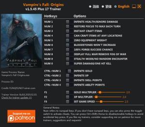 Vampire's Fall: Origins Trainer for PC game version v1.5.45