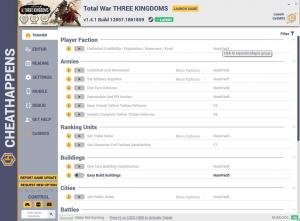 Total War: THREE KINGDOMS Trainer for PC game version v1.4.1 Build 12857.1861859