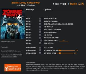 Zombie Army 4: Dead War Trainer for PC game version  v1.0