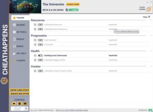The Universim Trainer for PC game version v0.0.39.29464