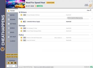 Need for Speed Heat Trainer for PC game version v02.07.2020