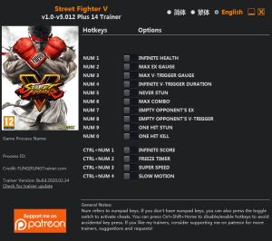 Street Fighter 5: Champion Edition Trainer for PC game version v5.012
