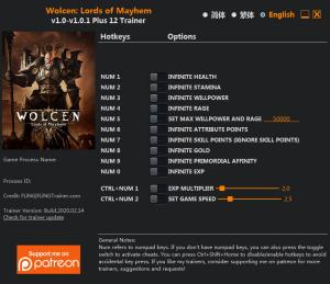 Wolcen: Lords of Mayhem Trainer for PC game version v1.0.1.0