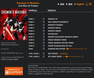 Daemon X Machina Trainer for PC game version v1.0