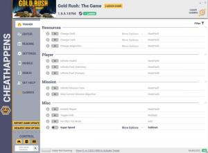 Gold Rush: The Game Trainer for PC game version v1.5.5.13794