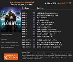 Age of Wonders: Planetfall Trainer for PC game version v1.200