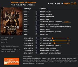 Wolcen: Lords of Mayhem Trainer for PC game version v1.0.4.0
