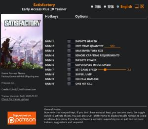 Satisfactory Trainer for PC game version Build 115191