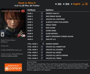 Dead or Alive 6 Trainer for PC game version v1.20