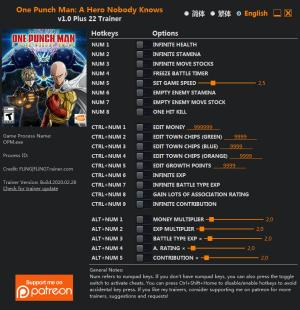 One Punch Man: A Hero Nobody Knows Trainer for PC game version v1.0