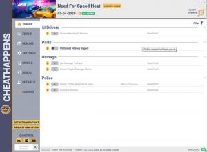 Need for Speed Heat Trainer for PC game version v03.04.2020