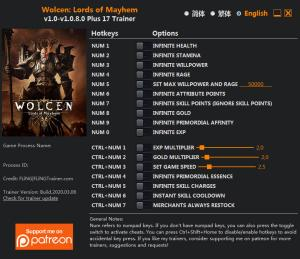 Wolcen: Lords of Mayhem Trainer for PC game version v1.0.8.0