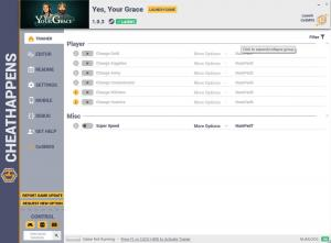 Yes, Your Grace Trainer for PC game version v1.0.3