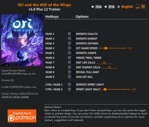 Ori and the Will of the Wisps Trainer for PC game version v1.0