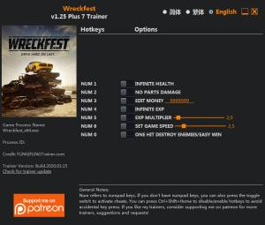Wreckfest Trainer for PC game version v1.25