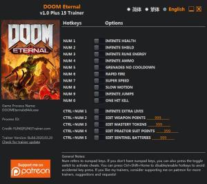 DOOM Eternal Trainer for PC game version v1.0