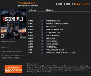 Resident Evil 3 Trainer for PC game version Demo