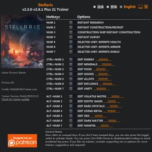 Stellaris Trainer for PC game version v2.6.1