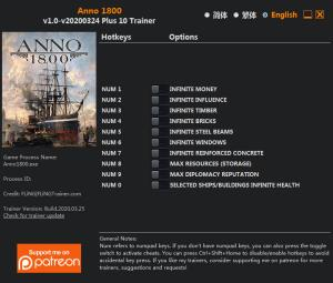 Anno 1800 Trainer for PC game version v2020.03.24