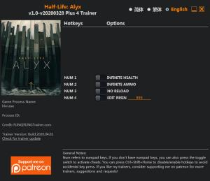 Half-Life: Alyx  Trainer for PC game version v2020.03.28