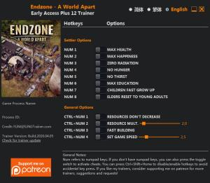 Endzone - A World Apart Trainer for PC game version v2020.04.05