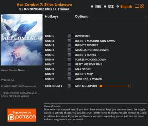 Ace Combat 7: Skies Unknown Trainer for PC game version v2020.05.02