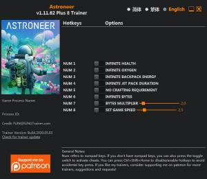 ASTRONEER Trainer for PC game version v1.11.62