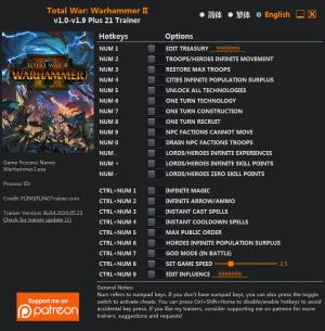 Total War: Warhammer 2 Trainer for PC game version v1.9