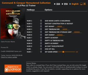 Command and Conquer Remastered Collection Trainer for PC game version v1.0