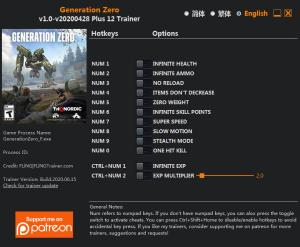Generation Zero Trainer for PC game version v2020.04.28