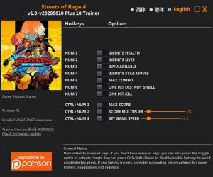 Streets of Rage 4 Trainer for PC game version v2020.06.10
