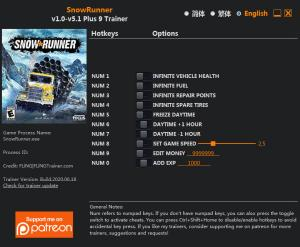 SnowRunner Trainer for PC game version v5.1