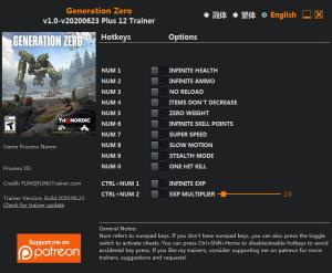 Generation Zero Trainer for PC game version v2020.06.23