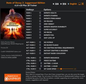 State of Decay 2: Juggernaut Edition Trainer for PC game version v18
