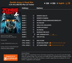 Zombie Army 4: Dead War Trainer for PC game version v0.1.861701