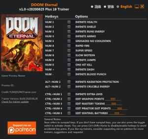 DOOM Eternal Trainer for PC game version v2020.06.25