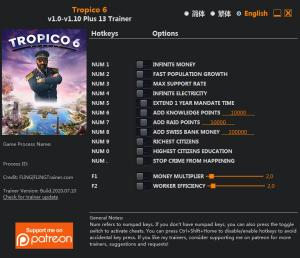 Tropico 6 Trainer for PC game version v1.10