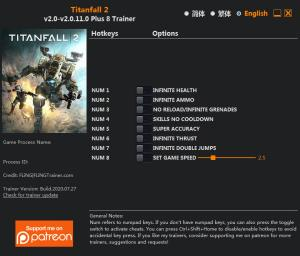 Titanfall 2 Trainer for PC game version v2.0.11.0
